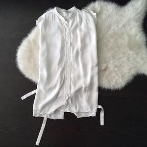 Helmut Lang White Open Back Strap Blouse Top